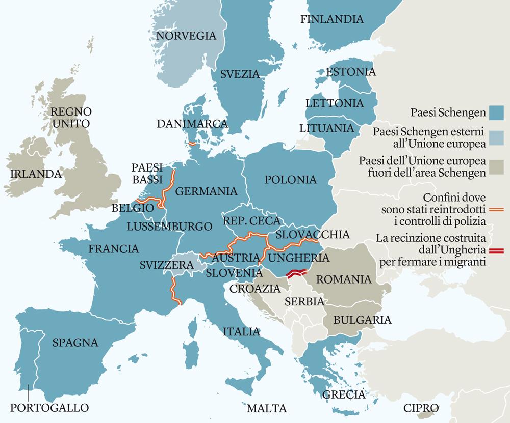 Se salta Schengen implode l'Europa: non si torni agli stati nazionali, ma si vada verso gli Stati Uniti d'Europa